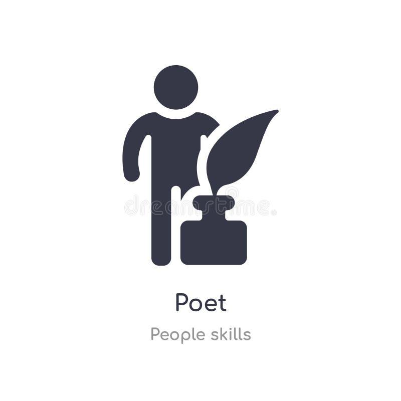 ícone do esboço do poeta linha isolada ilustra??o do vetor da cole??o das habilidades dos povos ícone fino editável do poeta do c ilustração stock