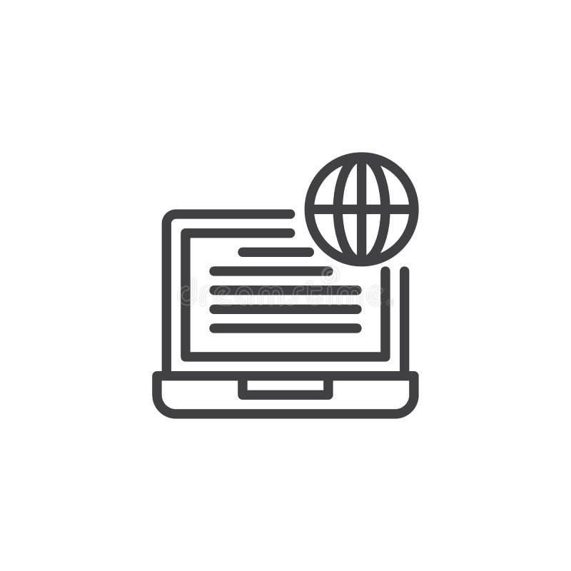 Ícone do esboço do portátil e do globo ilustração do vetor