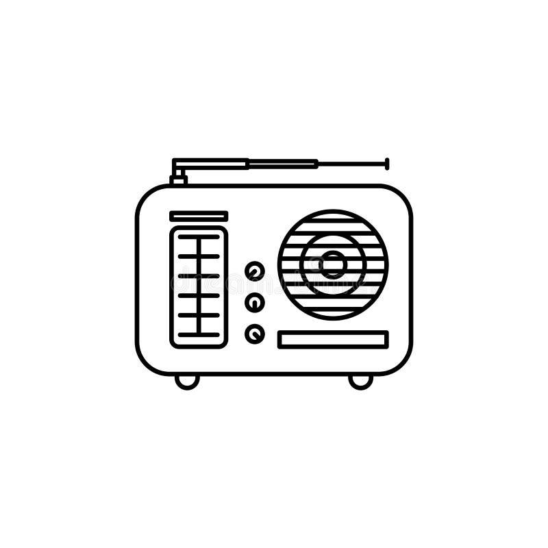 Ícone do esboço do rádio do vintage ilustração do vetor
