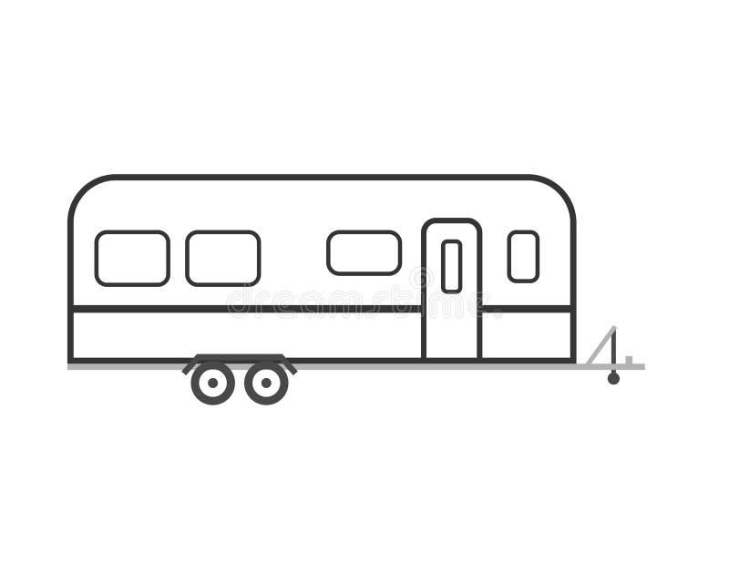 Ícone do esboço do reboque do curso rv ilustração stock
