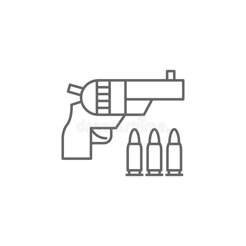 Ícone do esboço do revólver de justiça Elementos da linha ícone da ilustração da lei Os sinais, os símbolos e s podem ser usados  ilustração do vetor