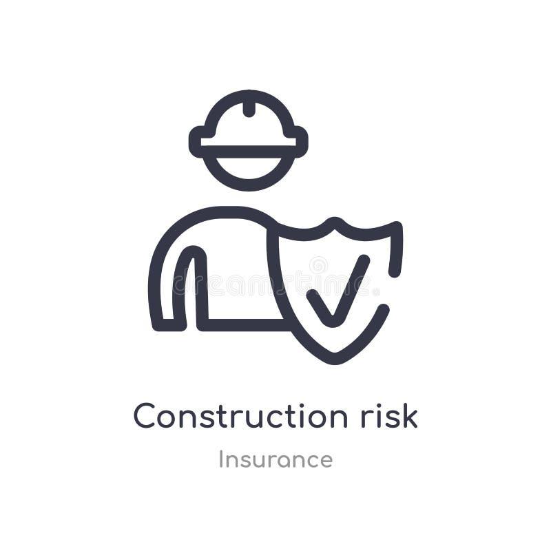 ícone do esboço do risco da construção linha isolada ilustra??o do vetor da cole??o do seguro construção fina editável do curso ilustração stock