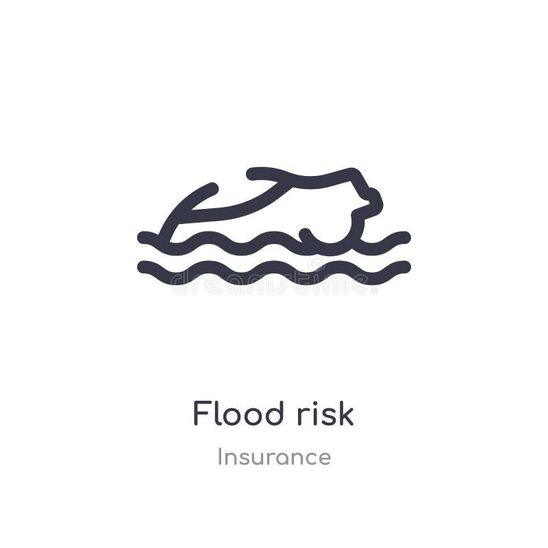 ícone do esboço do risco da inundação linha isolada ilustra??o do vetor da cole??o do seguro ícone fino editável do risco da inun ilustração royalty free