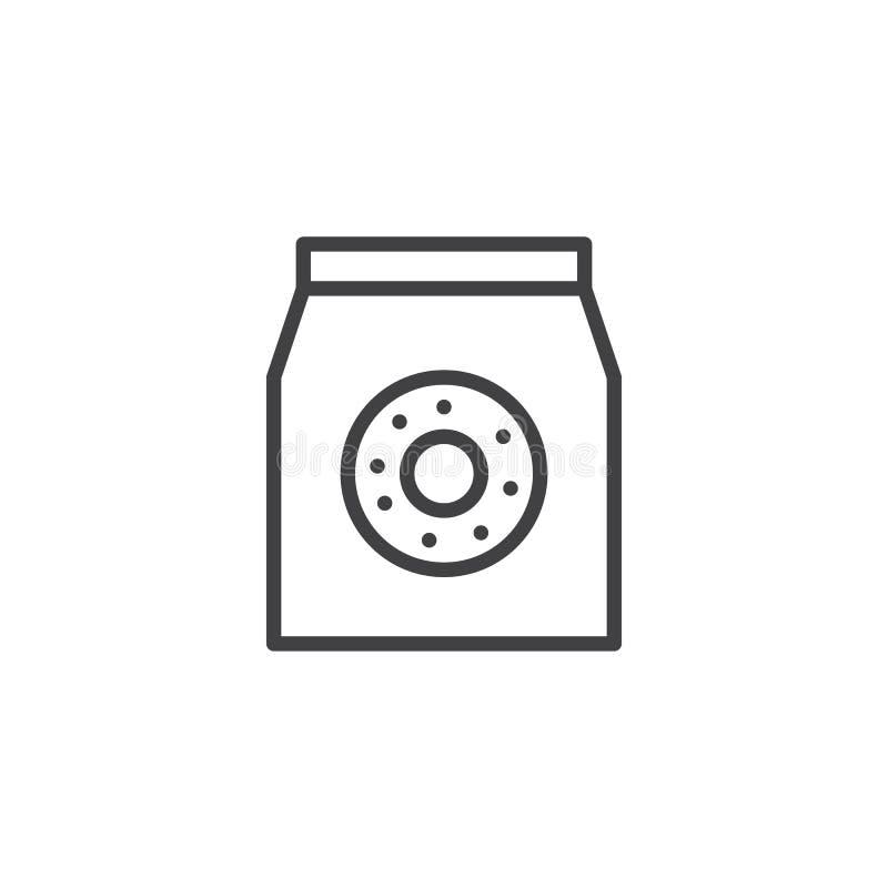 Ícone do esboço do saco das filhóses ilustração royalty free