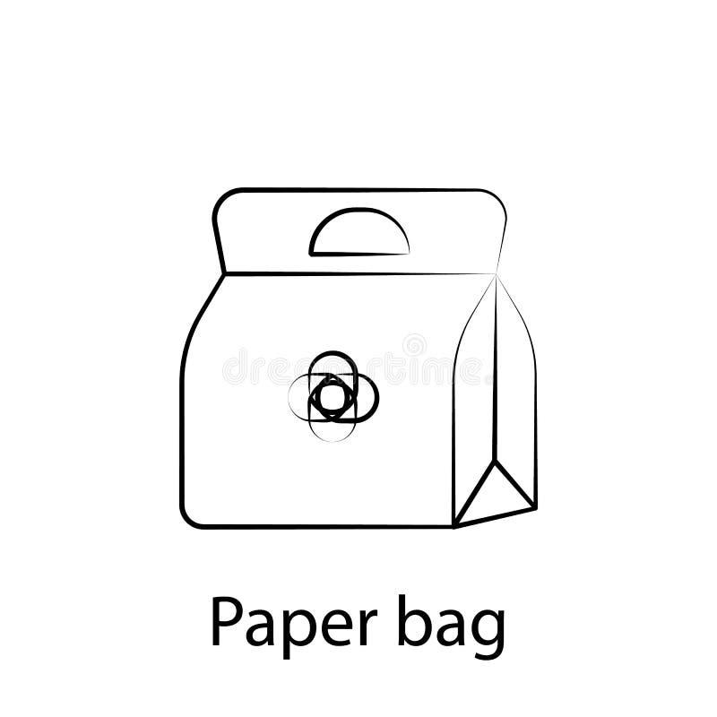 ?cone do esbo?o do saco de papel do fast food Elemento do ?cone da ilustra??o do alimento Os sinais e os s?mbolos podem ser usado ilustração stock
