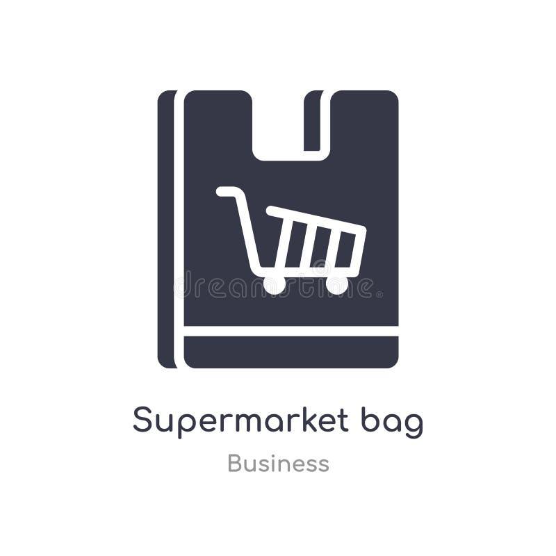 ícone do esboço do saco do supermercado linha isolada ilustra??o do vetor da cole??o do neg?cio saco fino editável do supermercad ilustração royalty free