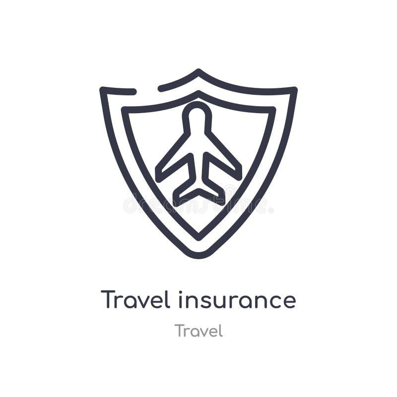 ícone do esboço do seguro do curso linha isolada ilustração do vetor da coleção do curso seguro fino editável do curso do curso ilustração royalty free