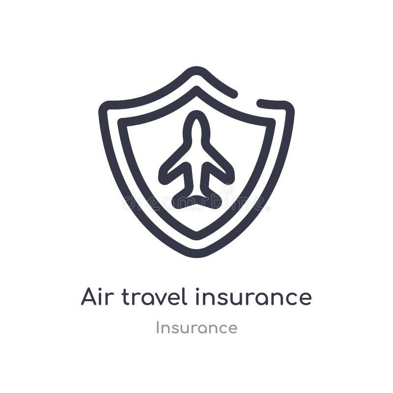 ícone do esboço do seguro da viagem aérea linha isolada ilustra??o do vetor da cole??o do seguro viagem aérea fina editável do cu ilustração stock