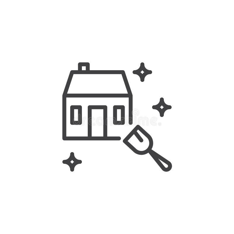 Ícone do esboço do serviço da limpeza da casa ilustração do vetor