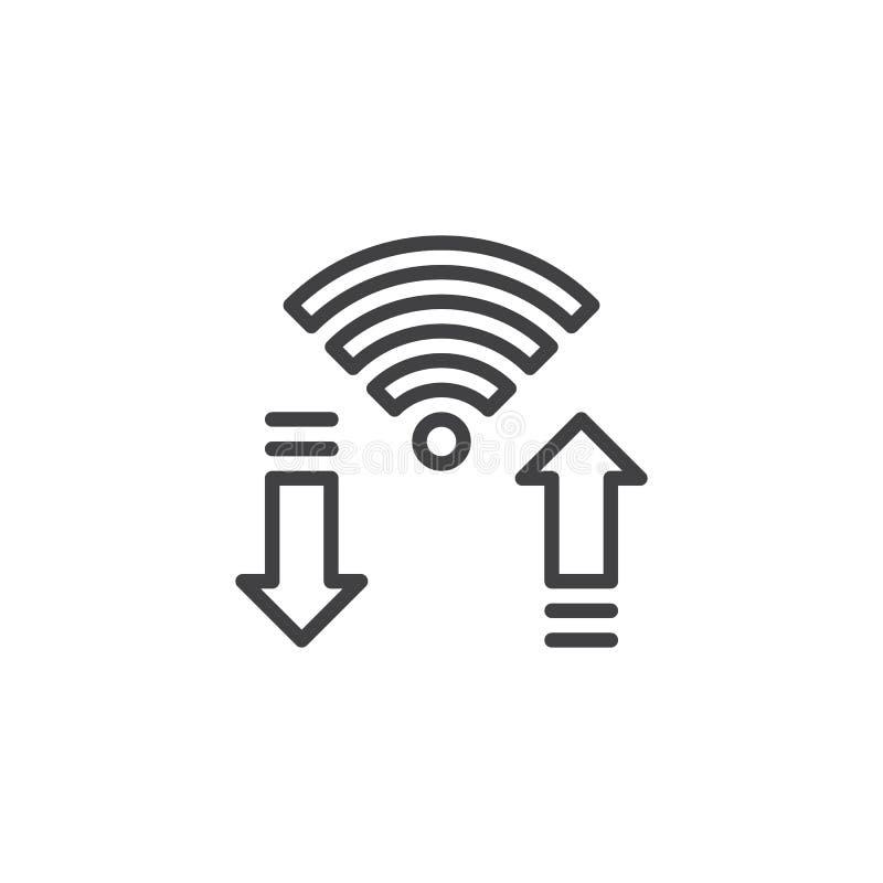 Ícone do esboço do sinal de Wifi ilustração stock