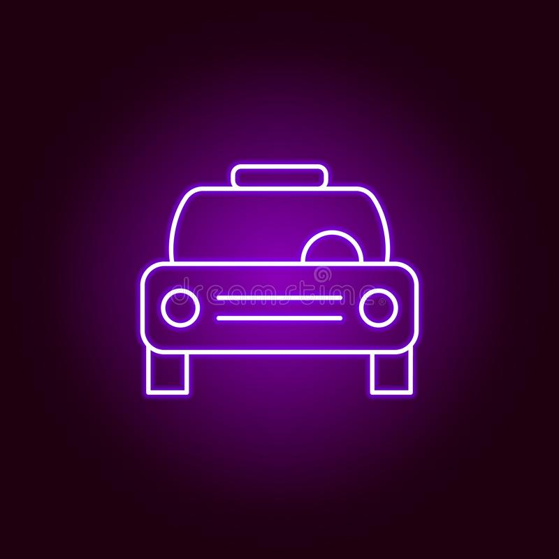 ícone do esboço do táxi do carro no estilo de néon Elementos da ilustração do reparo do carro no ícone de néon do estilo Os sinai ilustração stock
