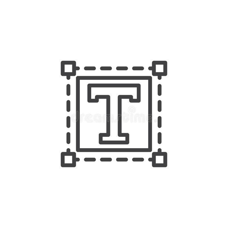 Ícone do esboço do tamanho do texto ilustração royalty free