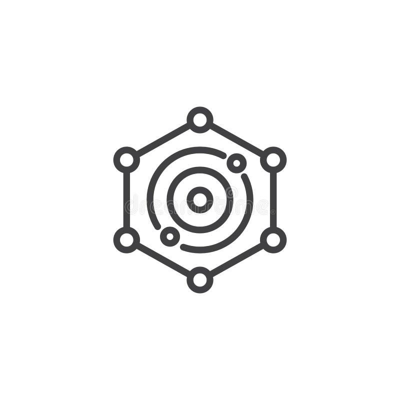 Ícone do esboço do tela de radar ilustração do vetor