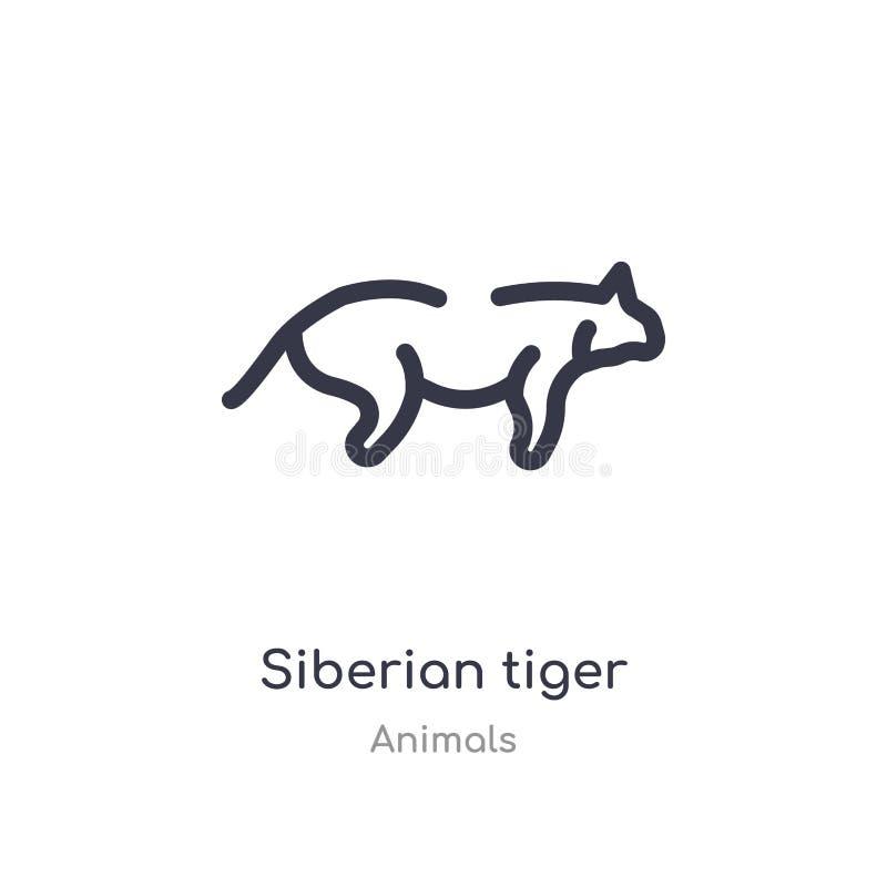 ícone do esboço do tigre siberian linha isolada ilustra??o do vetor da cole??o dos animais ícone fino editável do tigre siberian  ilustração stock