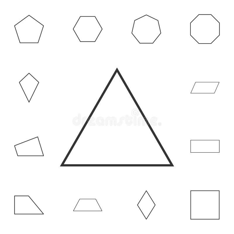 ícone do esboço do triângulo equilateral Grupo detalhado de figura geométrica Projeto gráfico superior Um dos ícones da coleção p ilustração stock
