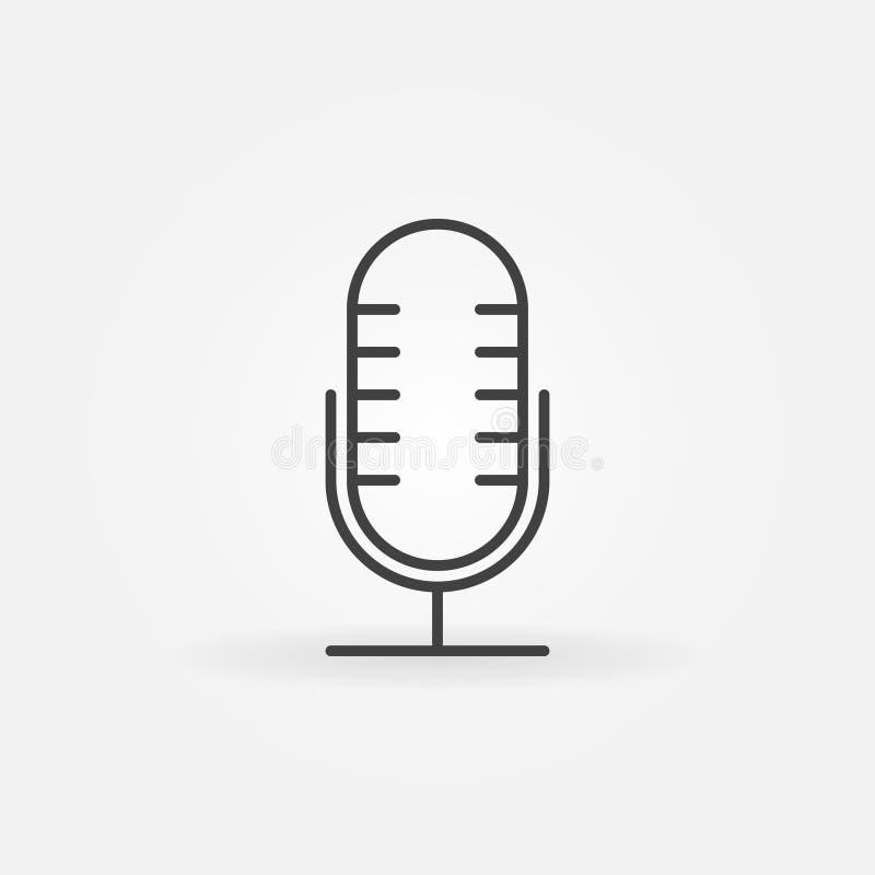 Ícone do esboço do vetor do Mic Símbolo retro do conceito do microfone ilustração royalty free