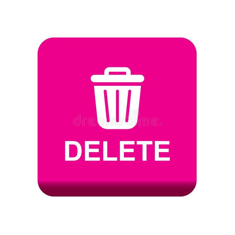 Ícone do escaninho de lixo do botão da supressão ilustração stock