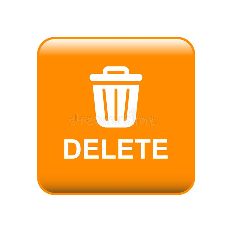 Ícone do escaninho de lixo do botão da supressão ilustração do vetor