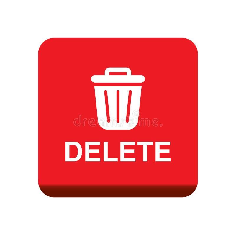 Ícone do escaninho de lixo do botão da supressão ilustração royalty free