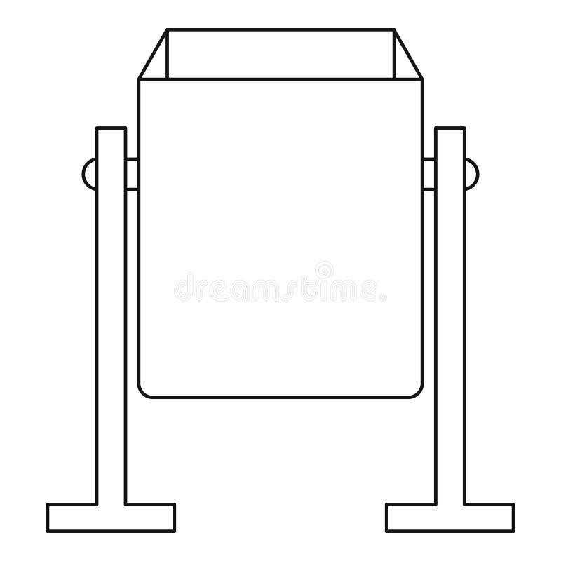 Ícone do escaninho de poeira do metal, estilo do esboço ilustração do vetor