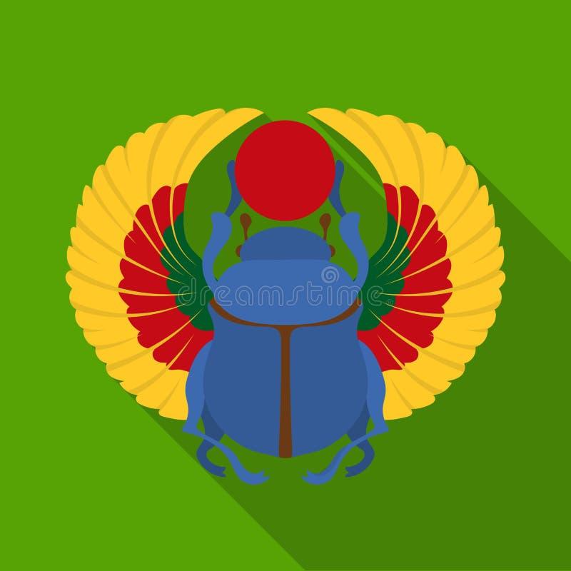 Ícone do escaravelho no estilo liso isolado no fundo branco Ilustração do vetor do estoque do símbolo de Egito antigo ilustração royalty free