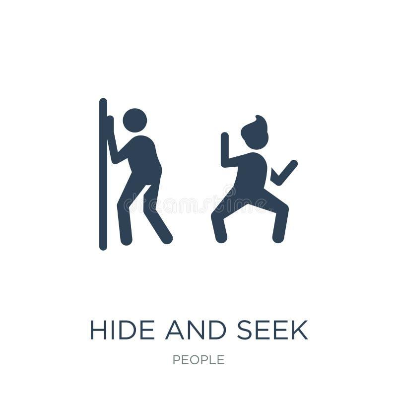 ícone do esconde-esconde no estilo na moda do projeto ícone do esconde-esconde isolado no fundo branco ícone do vetor do esconde- ilustração royalty free