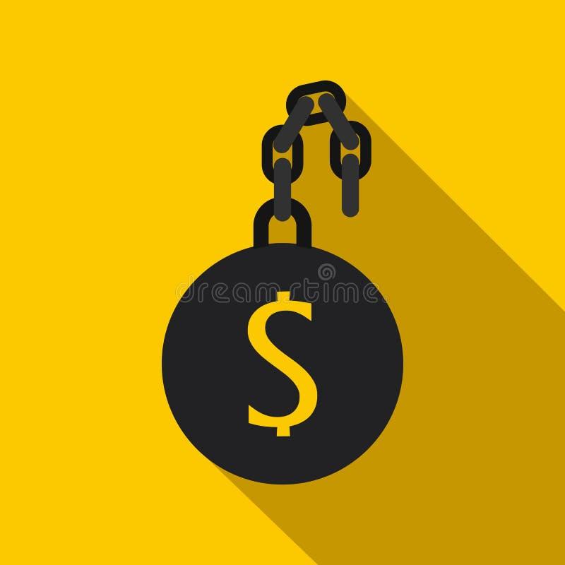 Ícone do escravo do dinheiro, estilo liso ilustração royalty free
