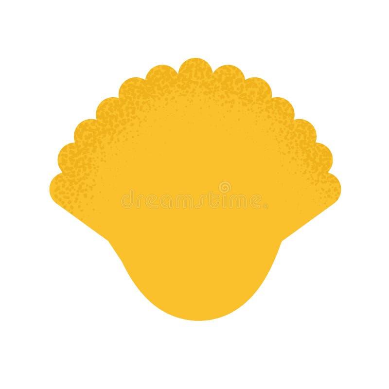 Ícone do escudo dos desenhos animados no estilo liso moderno Car?ter do oceano Cockleshell amarelo isolado ilustração royalty free