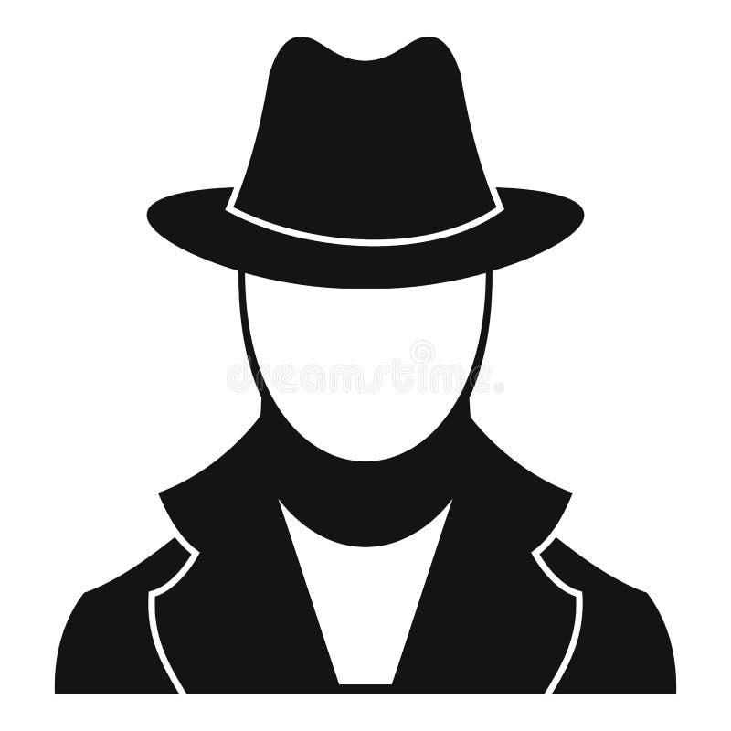 Ícone do espião, estilo simples ilustração stock