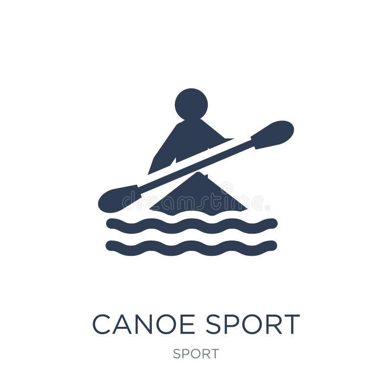 Ícone do esporte da canoa Ícone liso na moda do esporte da canoa do vetor em b branco ilustração royalty free