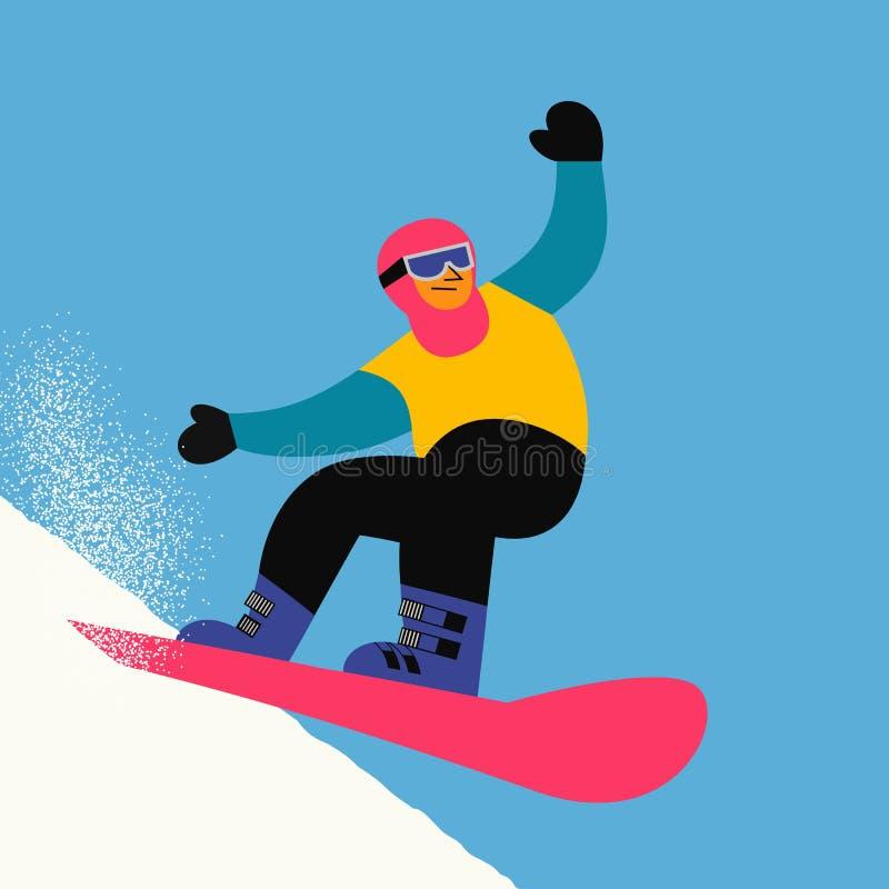 Ícone do esporte da snowboarding ilustração stock