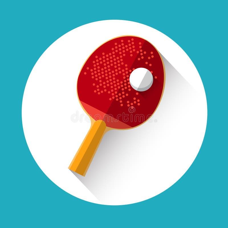 Ícone do esporte do equipamento da bola da raquete de tênis de mesa ilustração do vetor