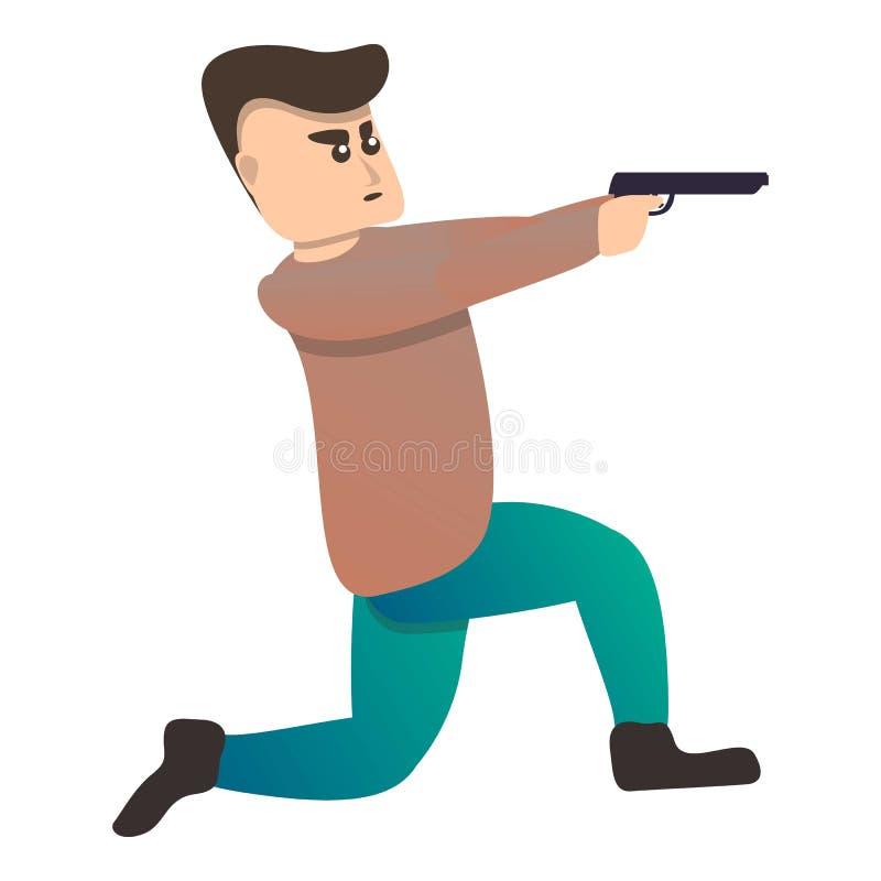 Ícone do esporte do tiro da pistola do homem, estilo dos desenhos animados ilustração royalty free