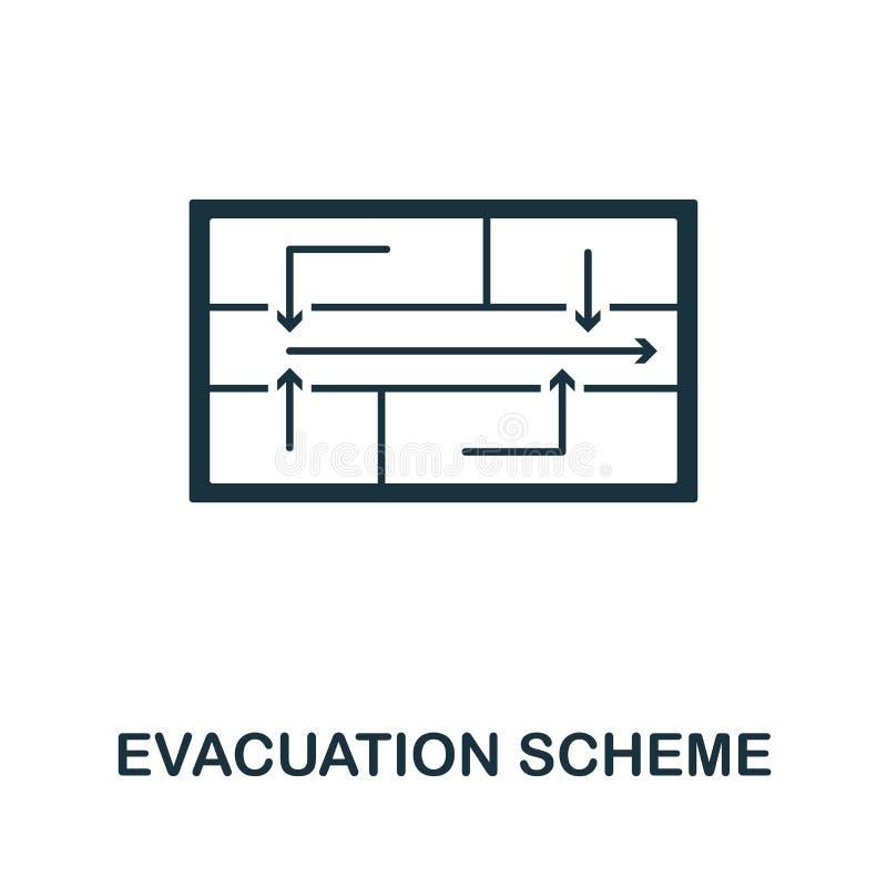 Ícone do esquema da evacuação Projeto criativo do elemento da coleção dos ícones da proteção contra incêndios Ícone perfeito do e ilustração stock