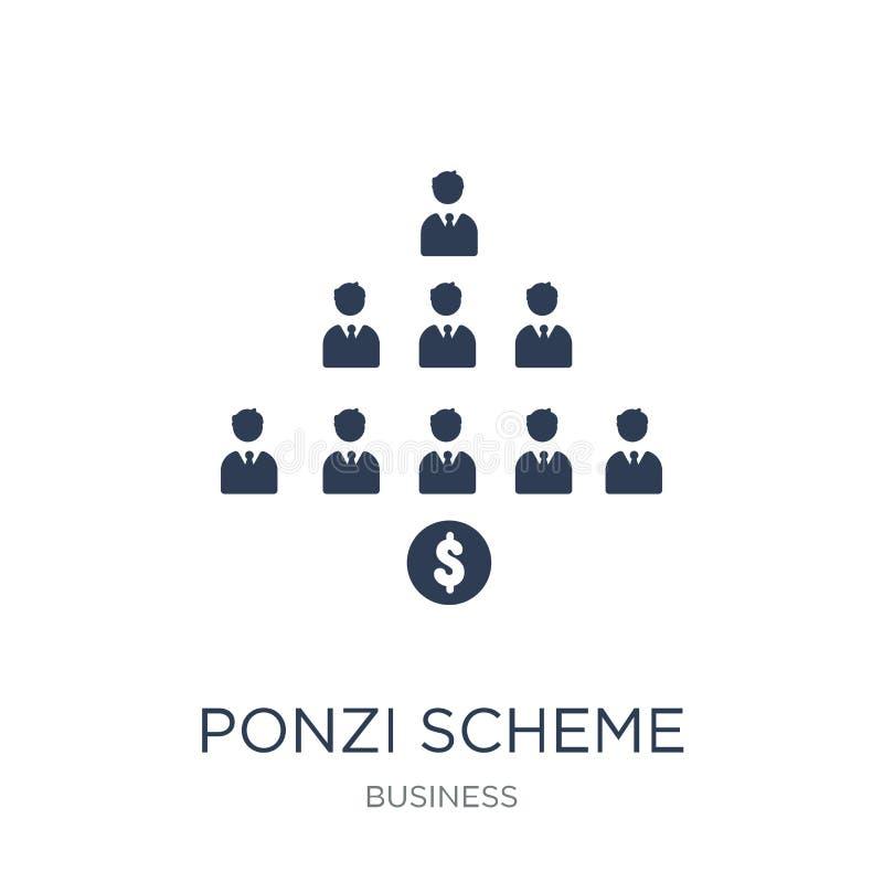 Ícone do esquema de Ponzi Ícone liso na moda do esquema de Ponzi do vetor no branco ilustração stock