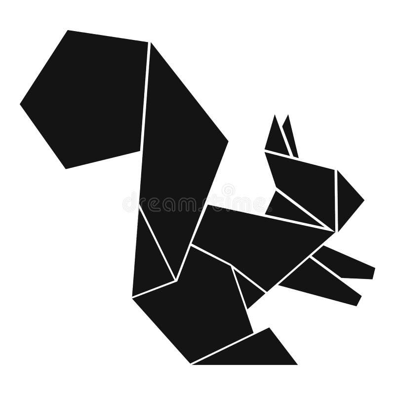 Ícone do esquilo do origâmi, estilo preto simples ilustração do vetor