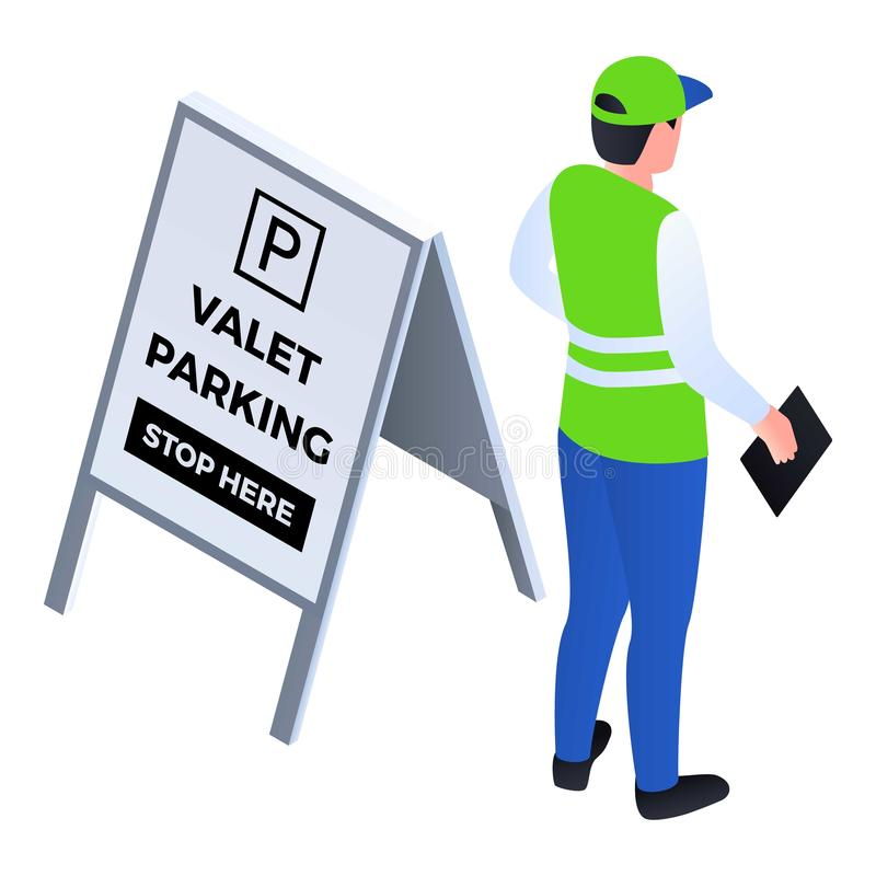 Ícone do estacionamento personalizado, estilo isométrico ilustração stock