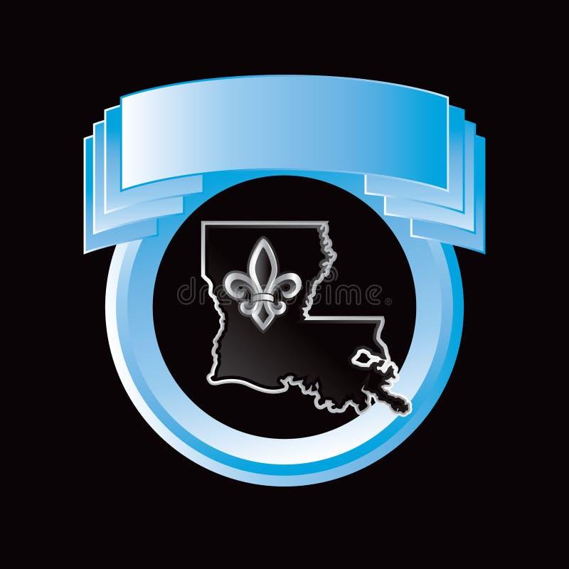 Ícone do estado de Louisiana na crista azul ilustração stock