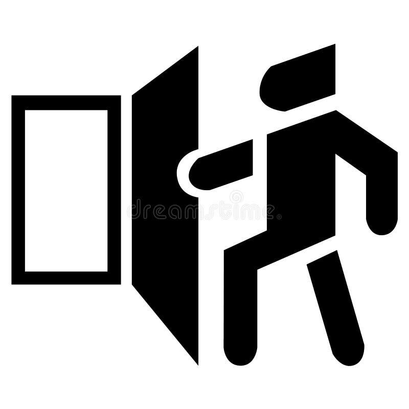Ícone do estar aberto do vetor O símbolo preto básico da saída ilustração royalty free