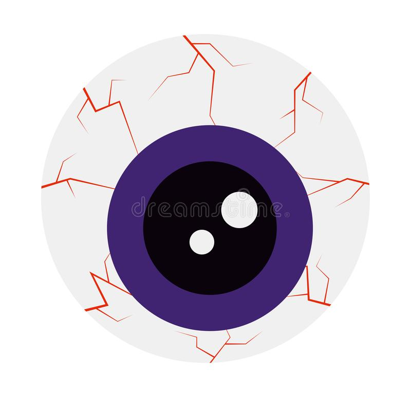 Ícone do estilo dos desenhos animados do olho do Dia das Bruxas isolado no fundo branco ilustração do vetor