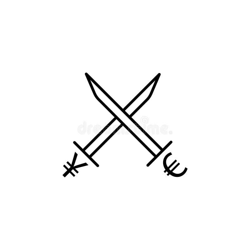 ícone do estilo do esboço do euro e dos ienes da espada Elemento do ícone da guerra da moeda para apps móveis do conceito e da We ilustração stock