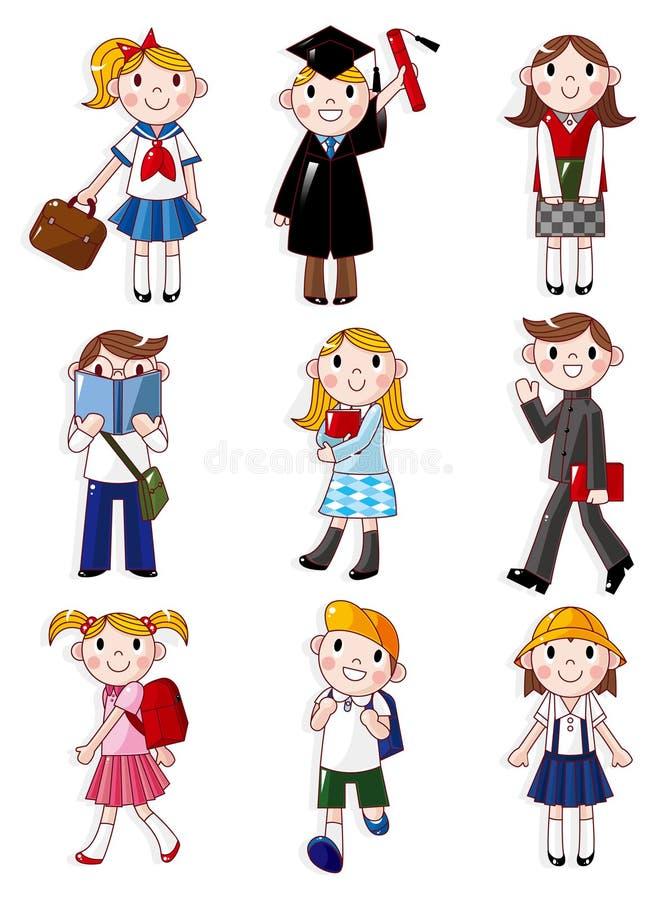 Ícone do estudante dos desenhos animados ilustração royalty free