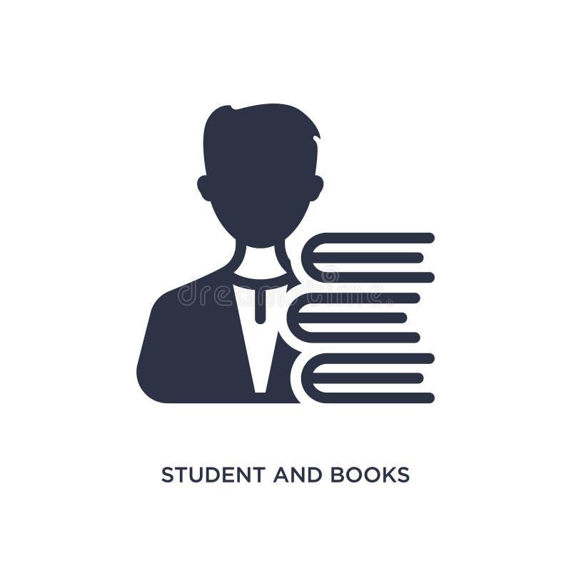 ícone do estudante e dos livros no fundo branco Ilustração simples do elemento do conceito da educação ilustração royalty free