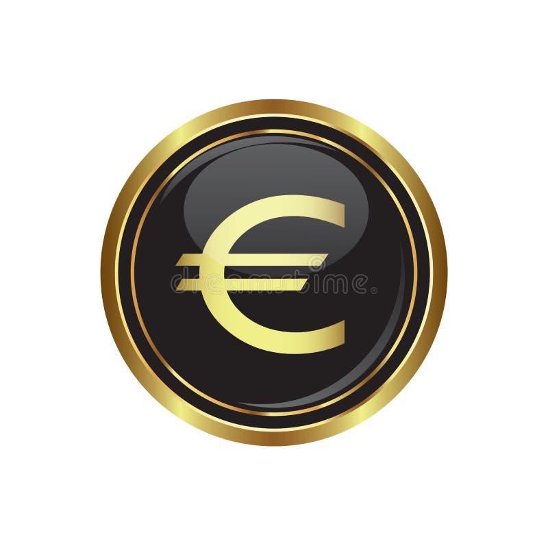 Ícone do Euro no botão ilustração stock