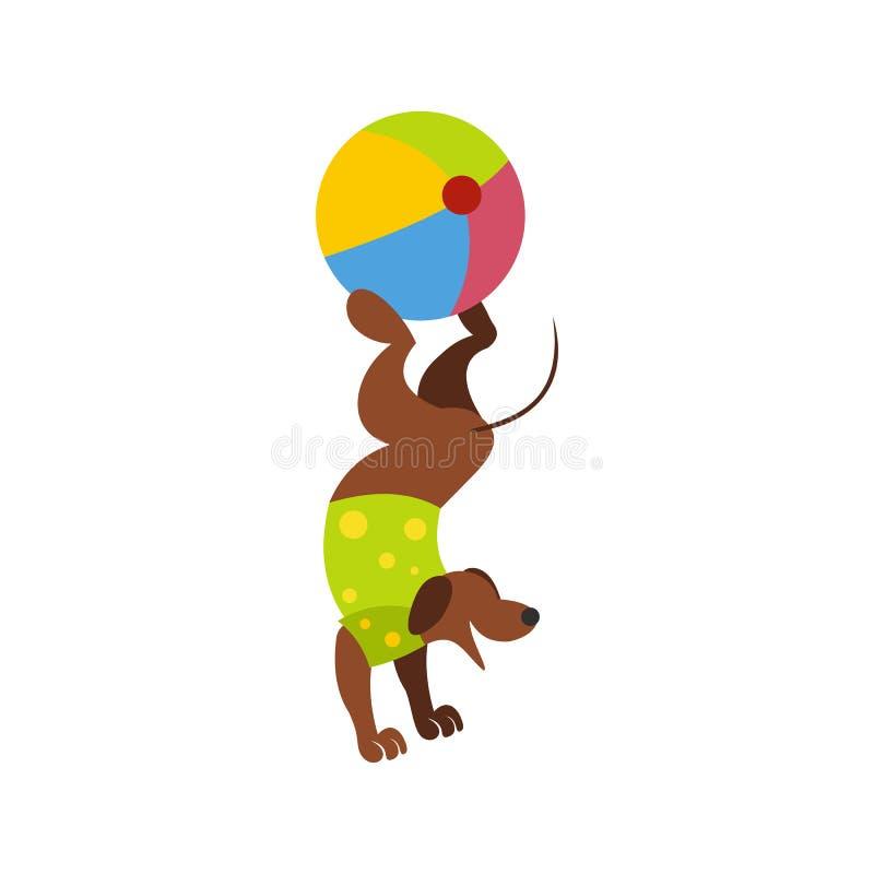 Ícone do exercicio de equilibrio da bola do cão ilustração do vetor