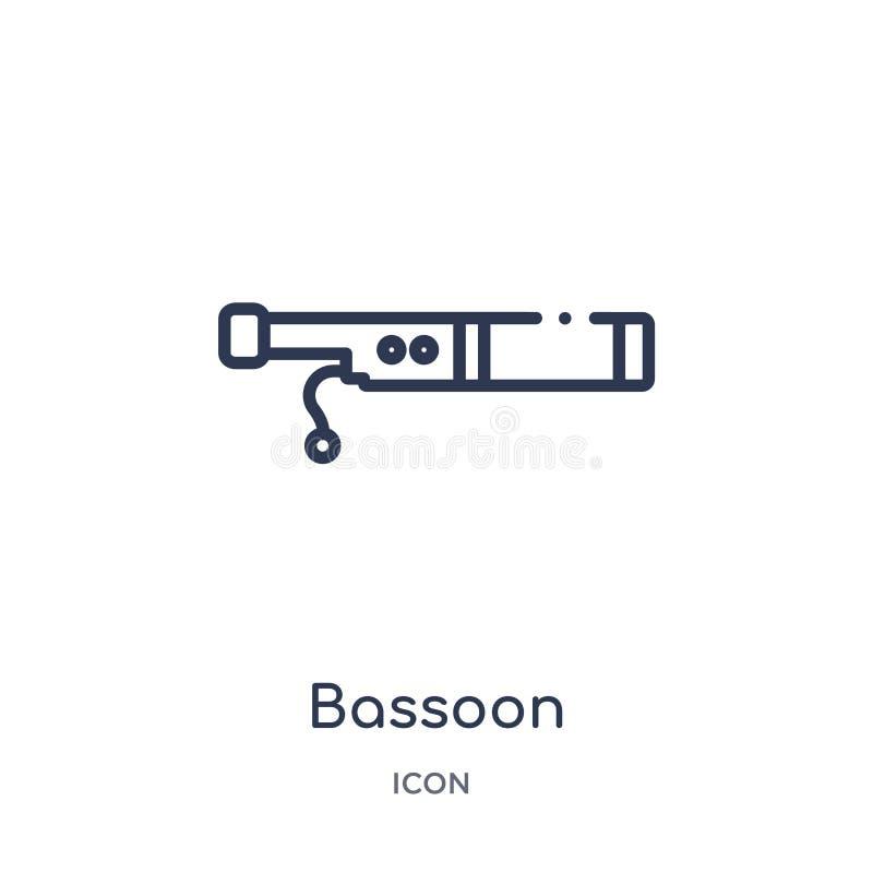Ícone do fagote da coleção do esboço da música Linha fina ícone do fagote isolado no fundo branco ilustração stock