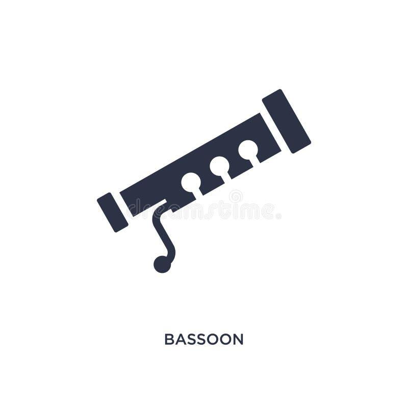 ícone do fagote no fundo branco Ilustração simples do elemento do conceito da música ilustração do vetor