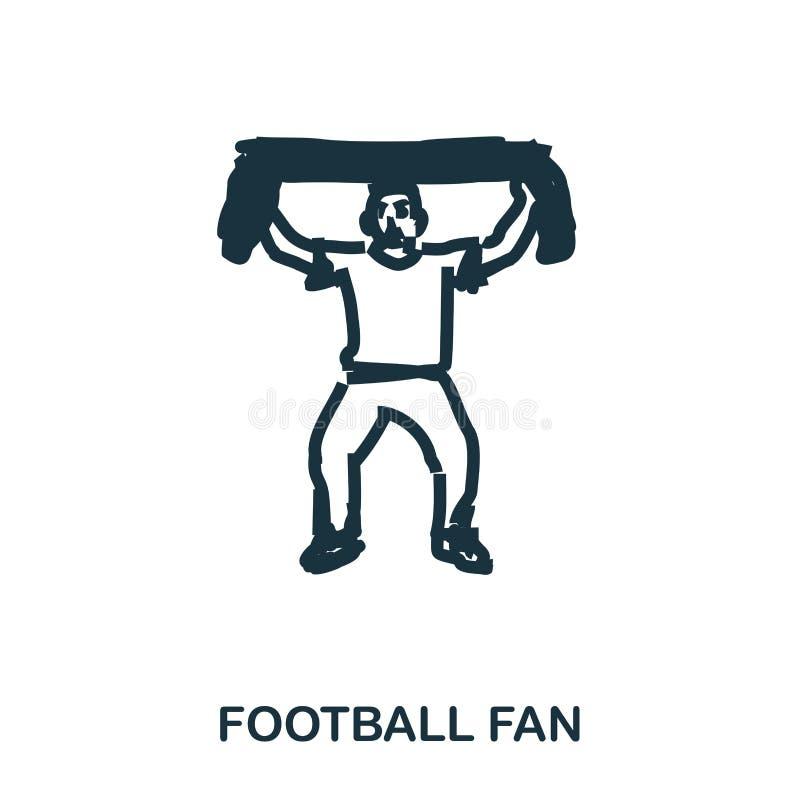Ícone do fan de futebol Apps móveis, impressão e mais uso O elemento simples canta Ilustração monocromática do ícone do fan de fu