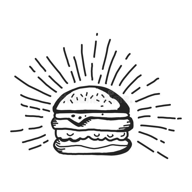 Ícone do fast food do hamburguer no estilo na moda do projeto ilustração royalty free