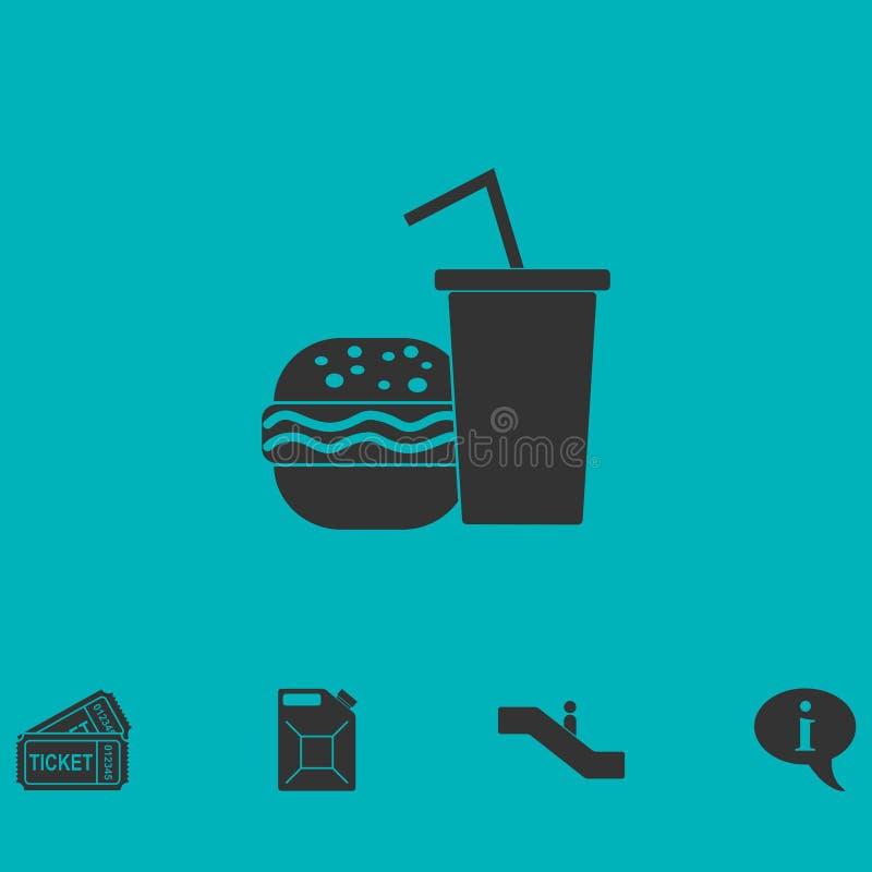 Ícone do fast food liso ilustração stock